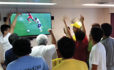 Crew watching world cup