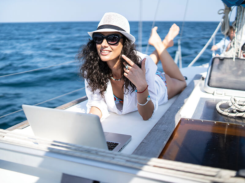 woman on yacht